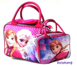 travel bag tenteng mini frozen polkadot