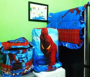 tutup galon set gkm spiderman biru