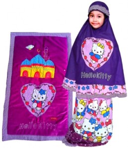 Mukena anak hello kitty ungu