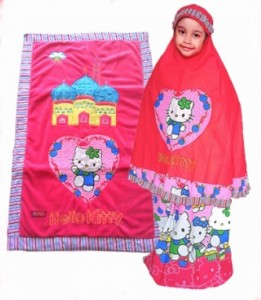 mukena anak hello kitty pink new