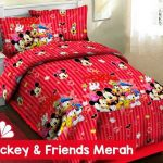 sprei mickey friends merah