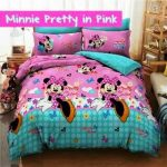 sprei minnie party in pink