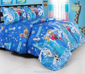 sprei frozen ice castle biru