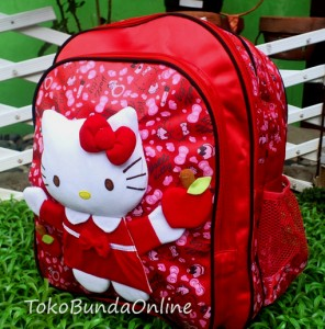 ts ransel HK merah hello Kitty timbul