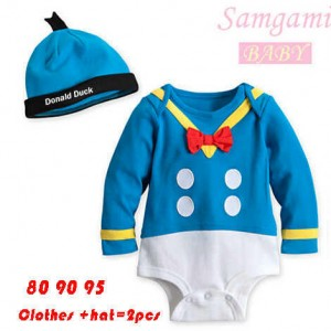 baju baby jumper samgami donald long blue jumper + hat sz 80,90,95.