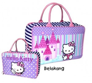 Tas Travel Tenteng Canvas Hello Kitty Polkadot Ungu