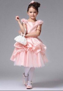 baju dress Pesta Soft Peach