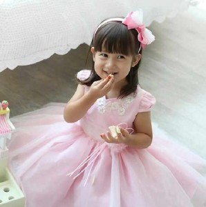 baju pesta dress pink size 90-120