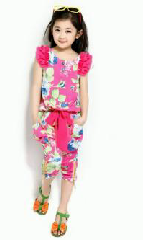 dress santai pink flower Baju Anak lucu