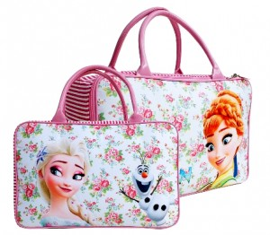 tas travel kanvas frozen fever pink flower