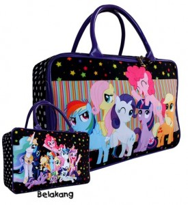 tas travel kanvas little pony hitam