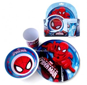 set makan melamin spiderman