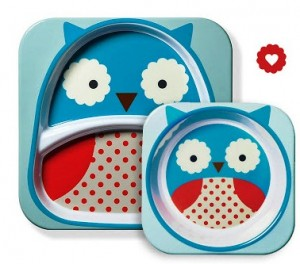 skiphop owl plate and bowl