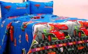 seprei dan bed cover cars_2_biru