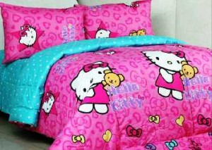 seprei dan bedcover kitty ribbon pink