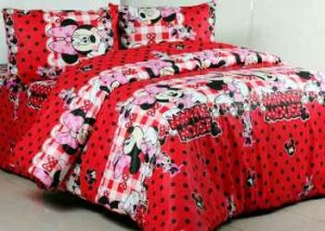 seprei dan bedcover minnie polka red