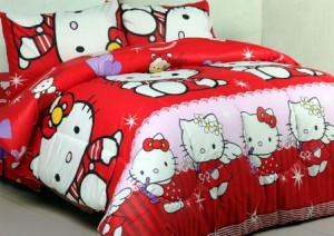 sprei dan bedcover hello kitty angel merah