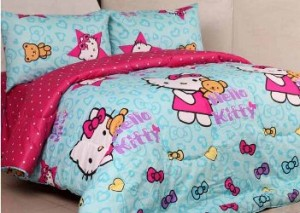 sprei dan bedcover kitty ribbon tosca