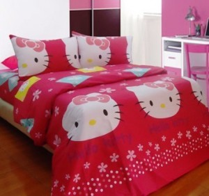 seprei dan bedcover hello kitty stamp pink