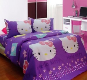 seprei dan bedcover hello-kitty-stamp-ungu