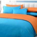 sprei dan bedcover biru mix orange