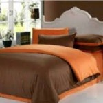 sprei dan bedcover coklat tua mix orange