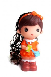 boneka celengan mini pita baju orange