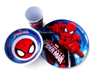 piring set melamin spiderman 1