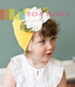 top baby cute hat kuning polkadot