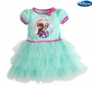 disney baju dress frozen tutu hijau