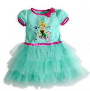 baju dress tinker bell tutu hijau