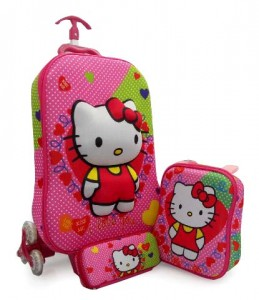 tas trolly roda 6 hello kitty polkadot edit